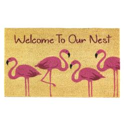 Category: Dropship Doormat, SKU #10018557, Title: Flamingo Family Welcome Mat