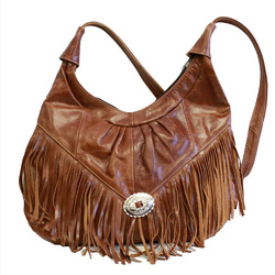 Category: Dropship Travel & Bags, SKU #CA-MX-055-SBR, Title: Shiny Brown Mexican Genuine Leather Hobo Style Fringe Purse