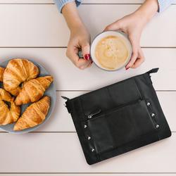Category: Dropship Travel & Bags, SKU #MA-3550BLK, Title: AFONiE-Slim Glazed Leather Messenger Bag
