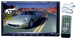 Category: Dropship Travel & Bags, SKU #PLDN74BTI, Title: 7'' Double DIN Bluetooth Headunit Receiver, Built-in Mic for Hands-Free Call Answering, Touch Screen, DVD Player, USB/SD Readers, AUX Input, AM/FM Radio