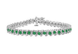 Category: Dropship Jewelry, SKU #UBRAGRD155500E-116, Title: Frosted Emerald S Tennis Bracelet : 925 Sterling Silver - 5.00 CT TGW