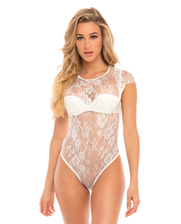 Category: Dropship Lingerie, SKU #OLL5170014-WH-S0, Title: Ysabel Eyelash Lace Teddy w/Padded Cups White SM
