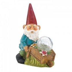 dropshipping Gnome With Wheel Barrow Solar Statue (pack Of 1 Ea)