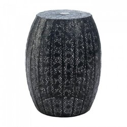 dropshipping Black Moroccan Lace Stool (pack Of 1 Ea)