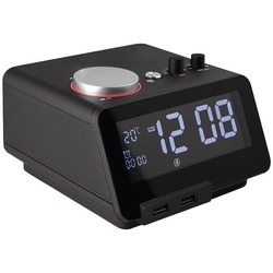 dropshipping Homtime C12 Bluetooth Alarm Clock With Dual Usb Charging Ports (black) (pack Of 1 Ea)