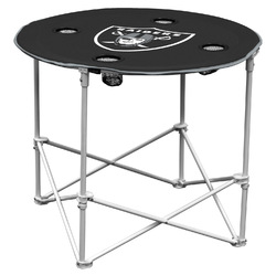 Category: Dropship Types, SKU #629362331, Title: Las Vegas Raiders Round Tailgate Table - Special Order