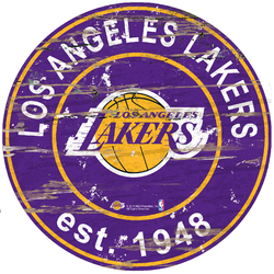 Category: Dropship Obsolete, SKU #7846014292, Title: Los Angeles Lakers Sign Wood 24 Inch Round