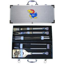 Category: Dropship College, SKU #BBQC21A, Title: Kansas Jayhawks 8 pc Stainless Steel BBQ Set w/Metal Case