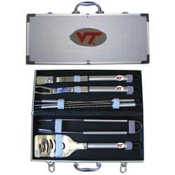 Category: Dropship College, SKU #BBQC61B, Title: Virginia Tech Hokies 8 pc Stainless Steel BBQ Set w/Metal Case