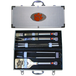 Category: Dropship College, SKU #BBQC69B, Title: Clemson Tigers 8 pc Stainless Steel BBQ Set w/Metal Case
