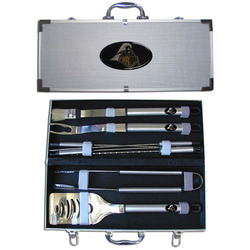 Category: Dropship College, SKU #BBQC84B, Title: Purdue Boilermakers 8 pc Stainless Steel BBQ Set w/Metal Case