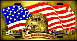 Category: Dropship Military, Patriotic & Firefighter, SKU #SVP7, Title: Proud To Be An American License Plate