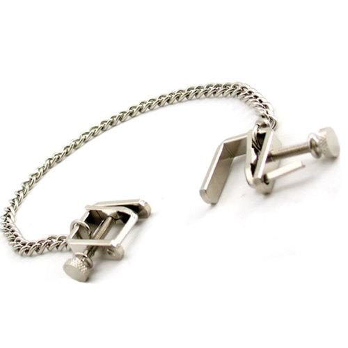 H2H Nipple Clamps Press W/Chain (Chrome)