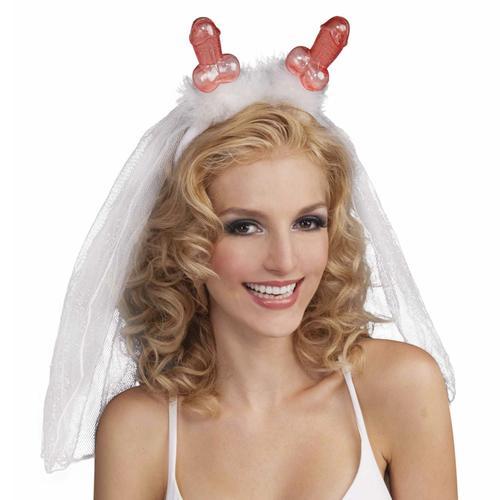 Bachelorette Penis Tiara W/Veil (White)