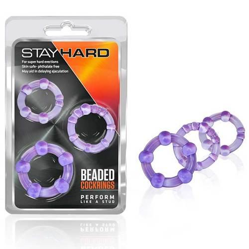 Stay Hard - Beaded Cockrings - Purple