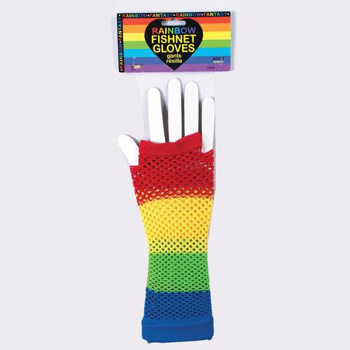Rainbow Fishnet Gloves
