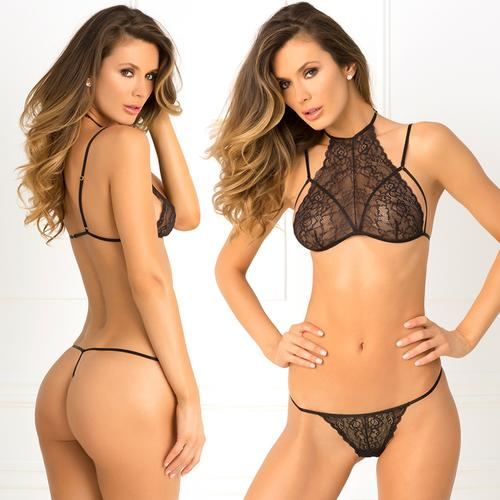 2pc Most Wanted Lace Bra G Set M/L Black