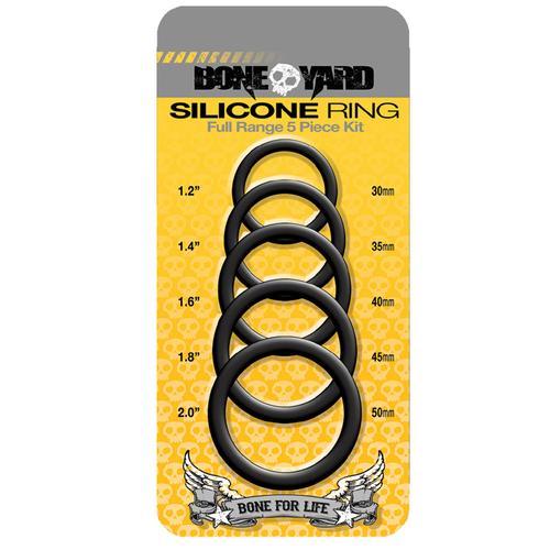 Boneyard Silicone Ring 5 Pcs Kit Black