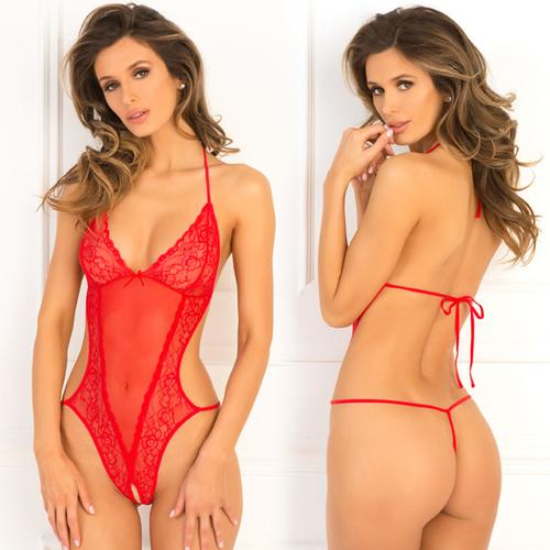 Crotchless Lace & Mesh Teddy Red S/M