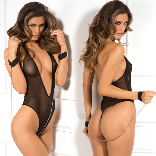 AM 2pc Mesh Teddy & Cuff Set Black O/S