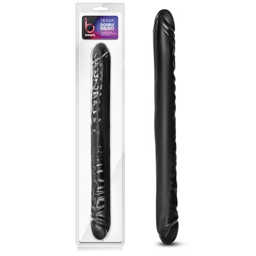 B Yours - 18in Double Dildo - Black