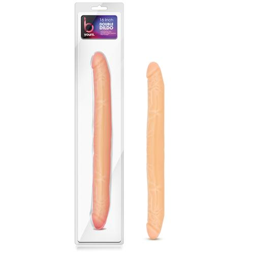 B Yours - 16in Double Dildo - Beige