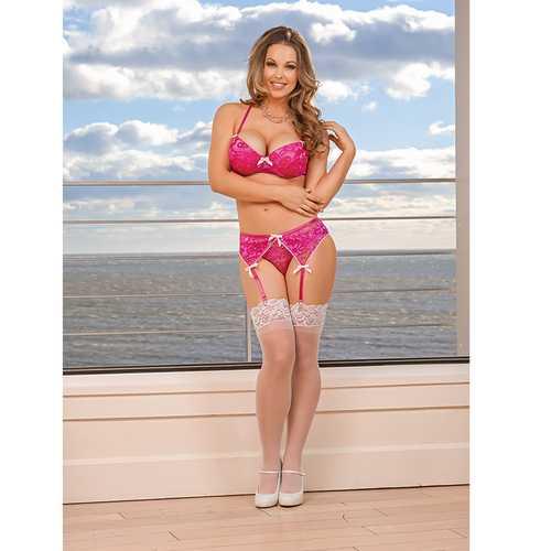 MS PeekaBow Bra Panty & Garter Pink S/M