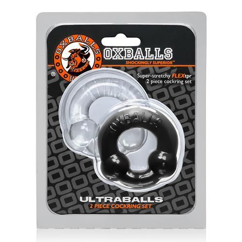 OxBalls Ultraballs, 2pk Cockring Blk&Clr