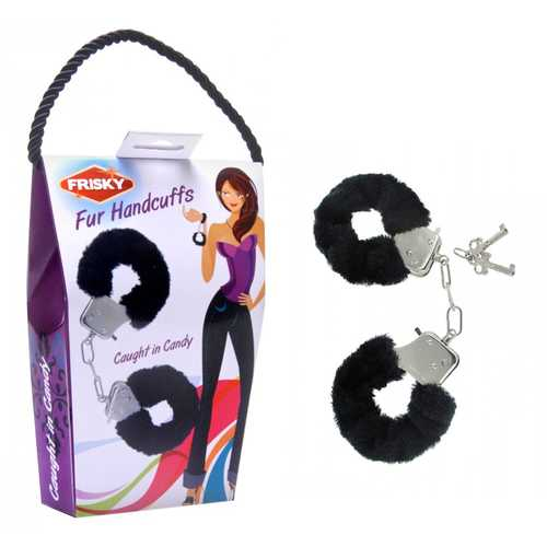 Frisky Caught In Candy Black Furry Cuffs