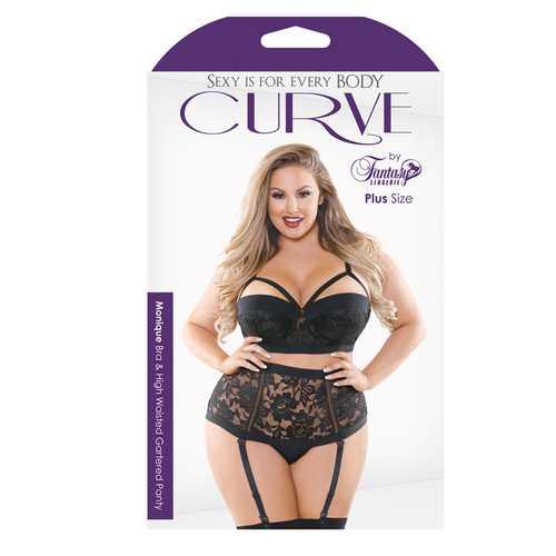 Curve Monique Bra & Panty Black 1X/2X