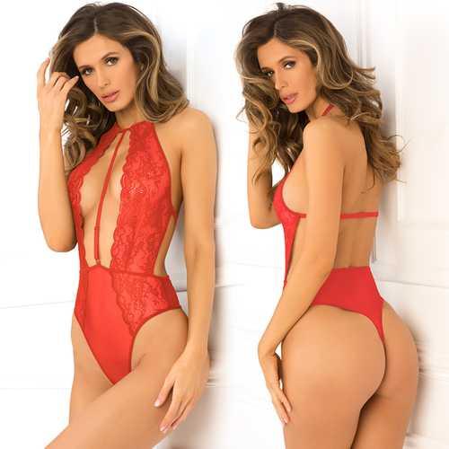 Hot Pursuit Lace Bodysuit Red M/L