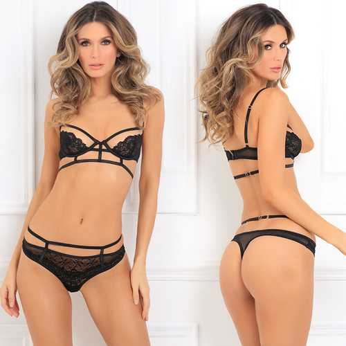2pc Hot Lust Strappy Bra Set Black M/L