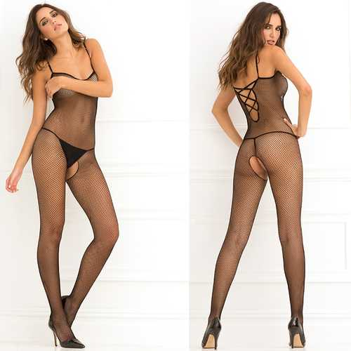 Crotchless Fishnet Bodystocking Blk QS