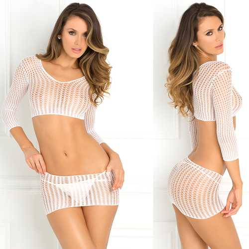 2pc Quarter Crochet Net Bodystckng Wh OS