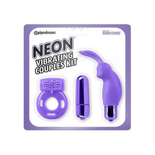 Neon Vibrating Couples Kit Purple