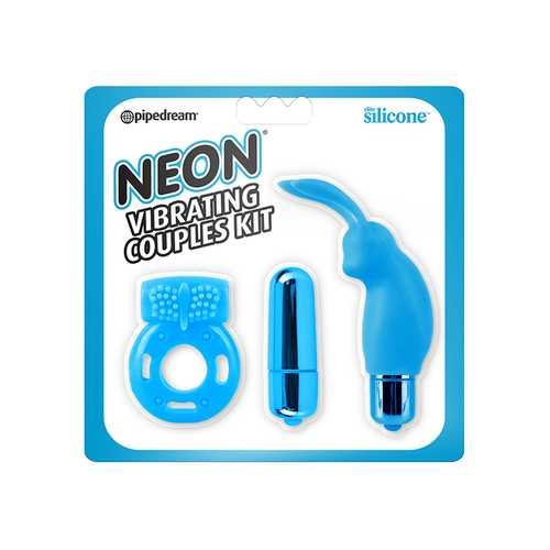 Neon Vibrating Couples Kit Blue
