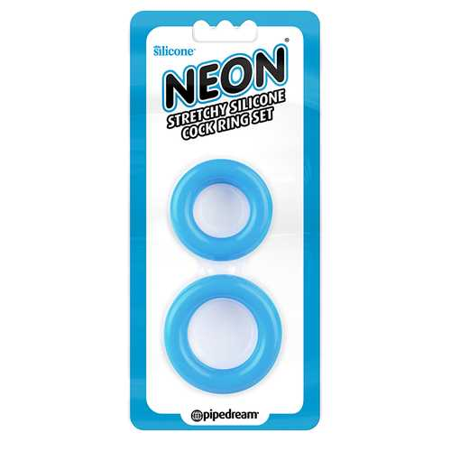 Neon Stretchy Silicone Cock Ring Set Blu