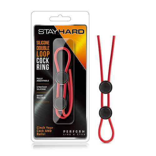 Stay Hard - Sili Dbl Loop Cock Ring Red