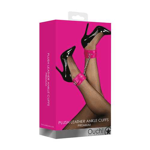 Ouch! Plush Leather Ankle Cuffs - Pink