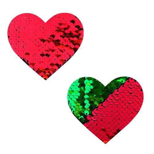 Neva Nude Pasty Heart Sequins Red To Grn