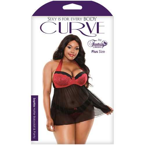 Curve Sophia Babydoll & Panty Red 3X/4X