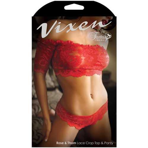 Vixen Rose&Thorn Crop Top&Panty Red L/XL
