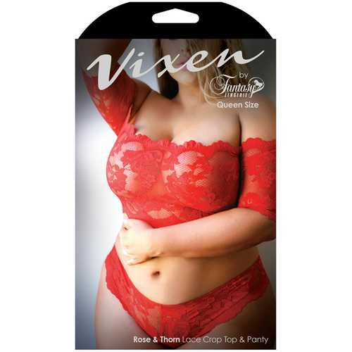 Vixen Rose&Thorn Crop Top&Panty Red Qu