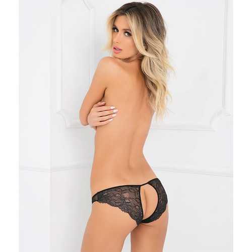 Pure Nv Crotchless Panty Black S/M