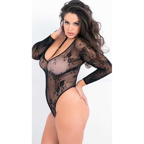 Hot Bodies Choker Bodysuit Black Plus Si