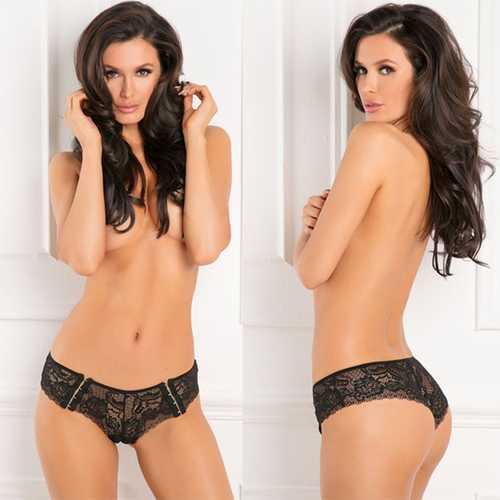 Hot Hook Up Crotchless Panty Black S/M