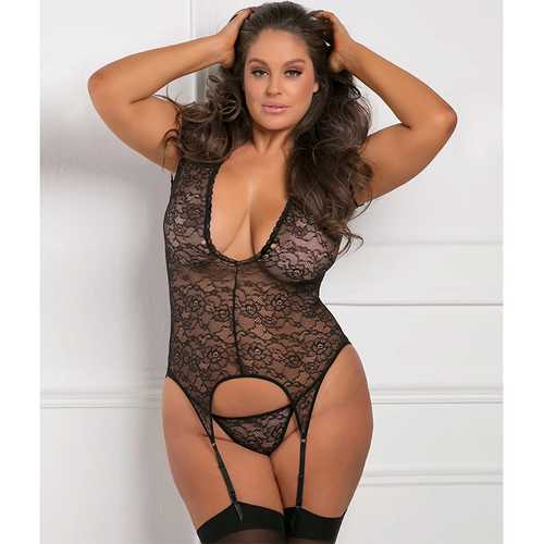 Finest Of All Garter Chemise Black 1X/2X