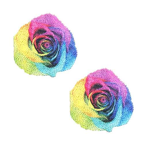 Neva Nude Pasty Rainbow Rose Glitter Vel
