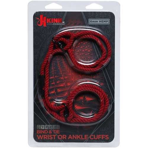 KINK - Hogtied 6mm Hemp Cuffs Red
