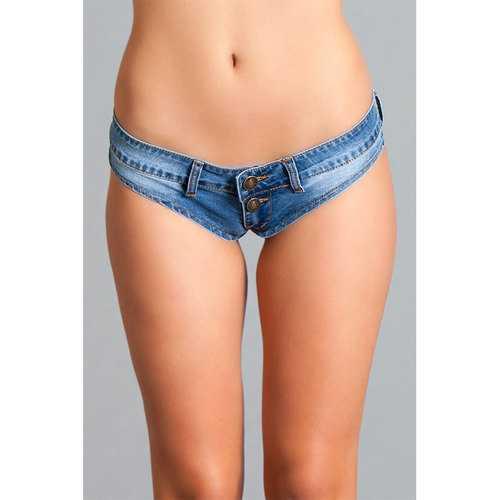 Mini Denim Cheeky Jeans Shorts Lrg Blue